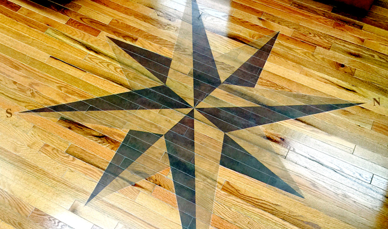 11..Compass over wood floor